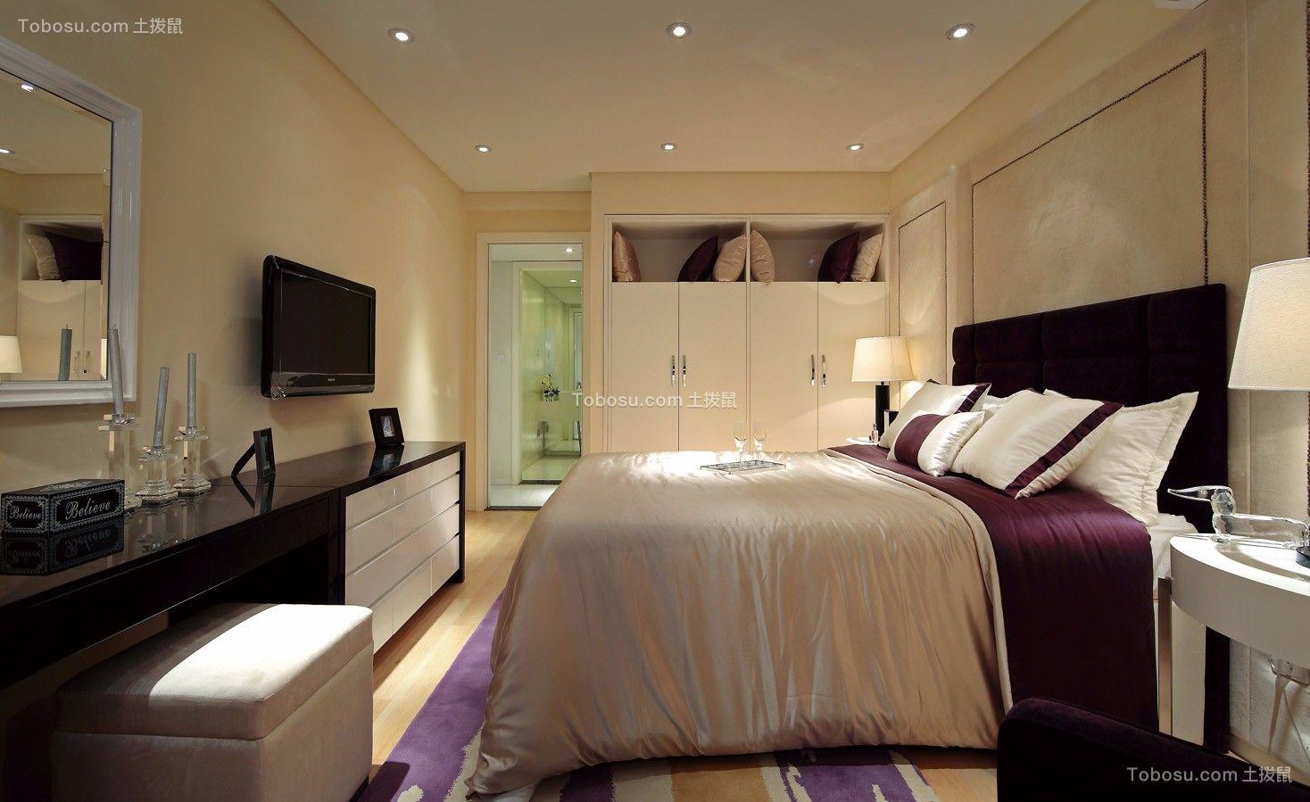 卧室紫色落地窗现代简约风格装修设计图片