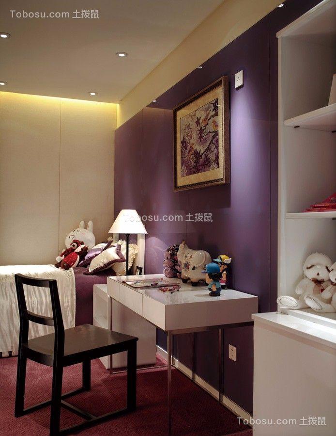 儿童房紫色书桌现代简约风格装饰设计图片