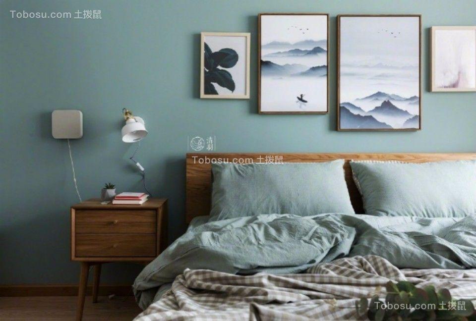 卧室咖啡色床头柜田园风格装饰设计图片