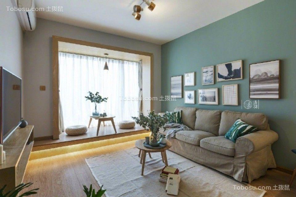 客厅绿色照片墙田园风格效果图