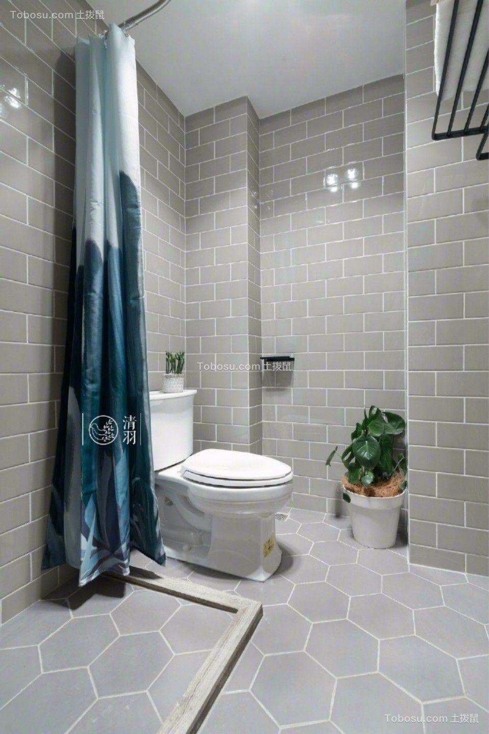 卫生间灰色地砖田园风格装饰效果图