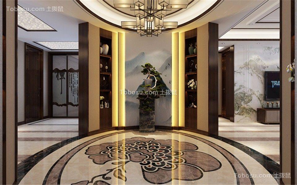 玄关白色走廊新中式风格装潢效果图