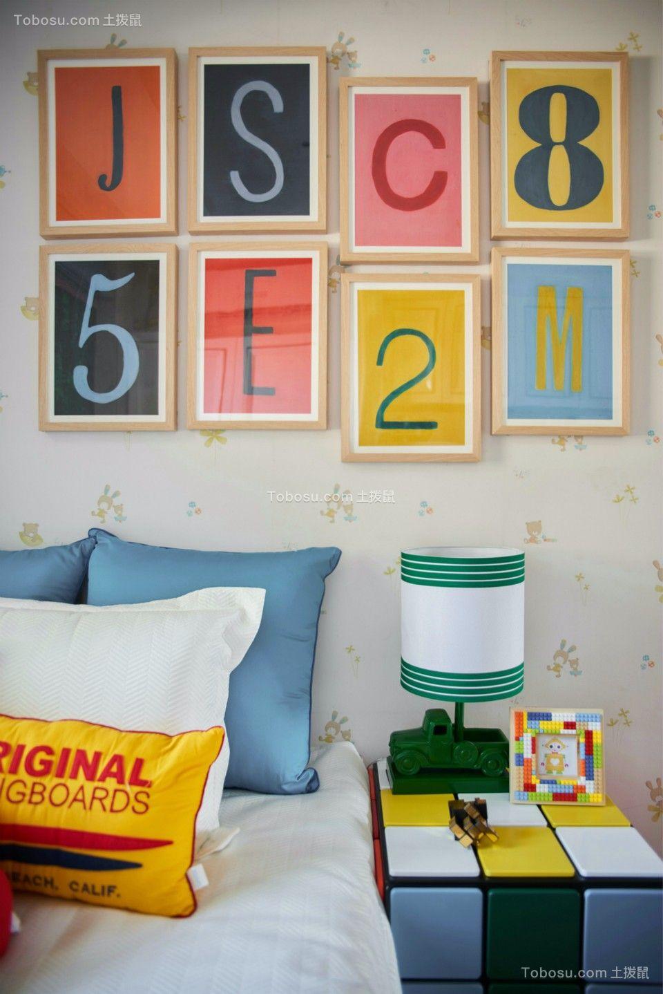 儿童房彩色床头柜北欧风格效果图