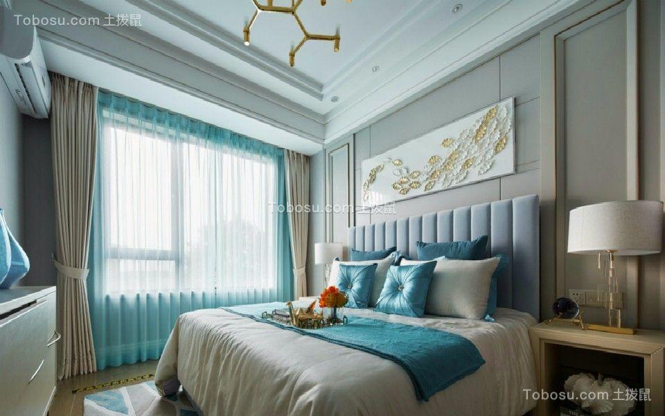 卧室蓝色落地窗北欧风格装饰图片