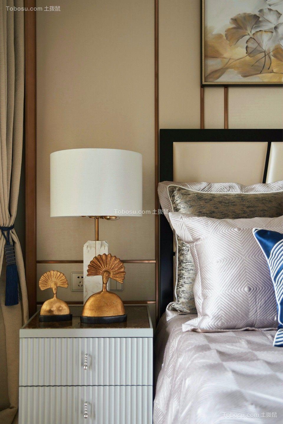 卧室白色床头柜混搭风格装饰设计图片