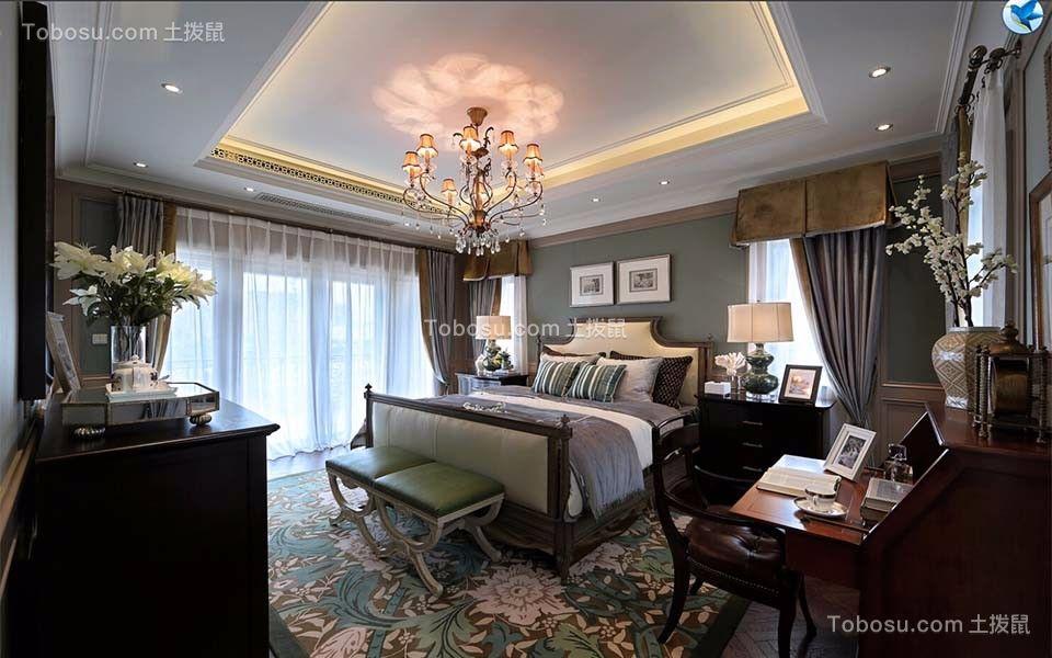 卧室绿色梳妆台美式风格装饰效果图