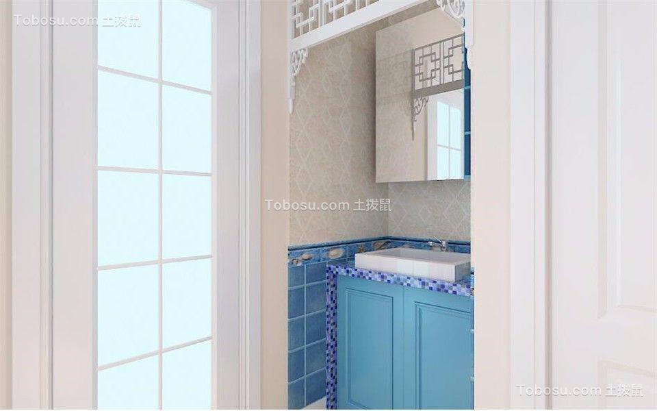 卫生间蓝色洗漱台地中海风格装潢设计图片