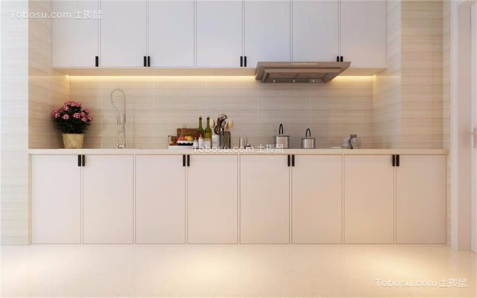 厨房白色橱柜简约风格装修图片