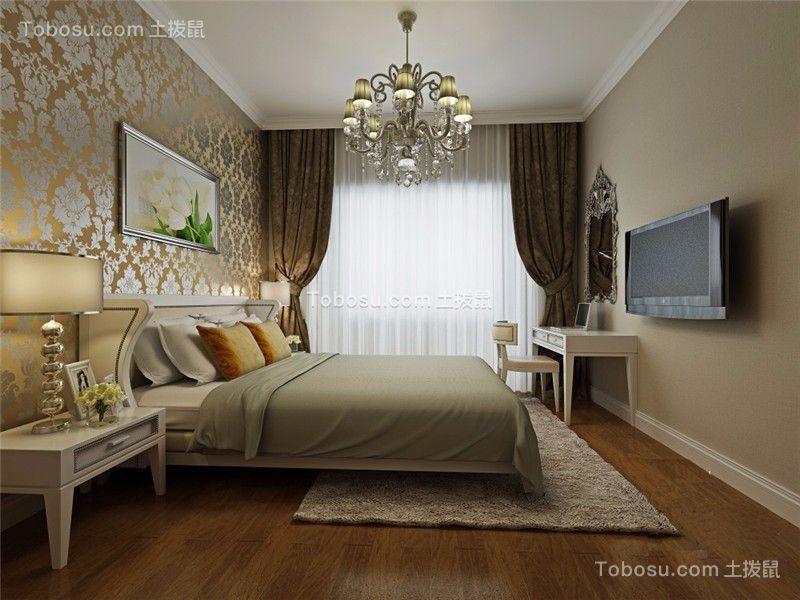 卧室咖啡色背景墙欧式风格装潢设计图片