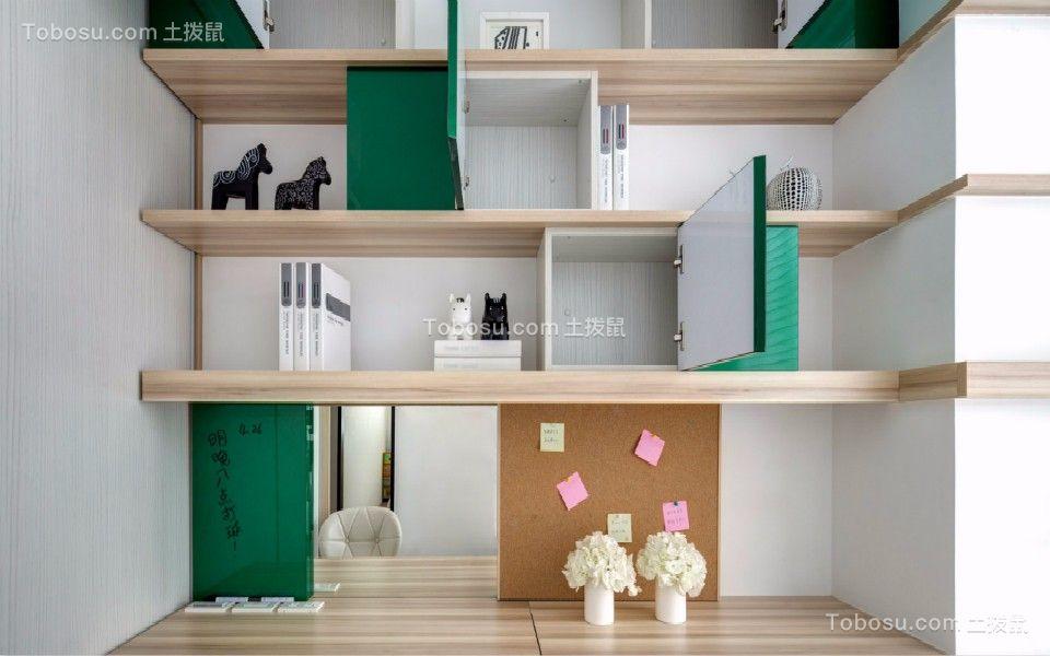 卧室绿色书架北欧风格装潢设计图片