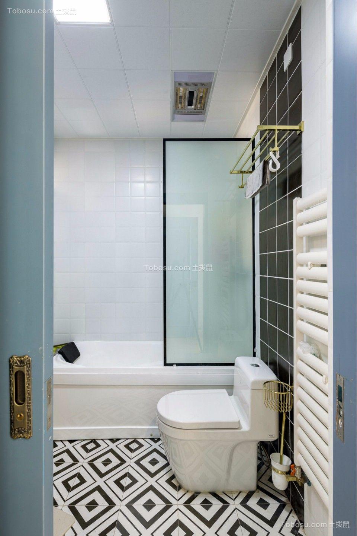 卫生间白色地板砖北欧风格装潢效果图