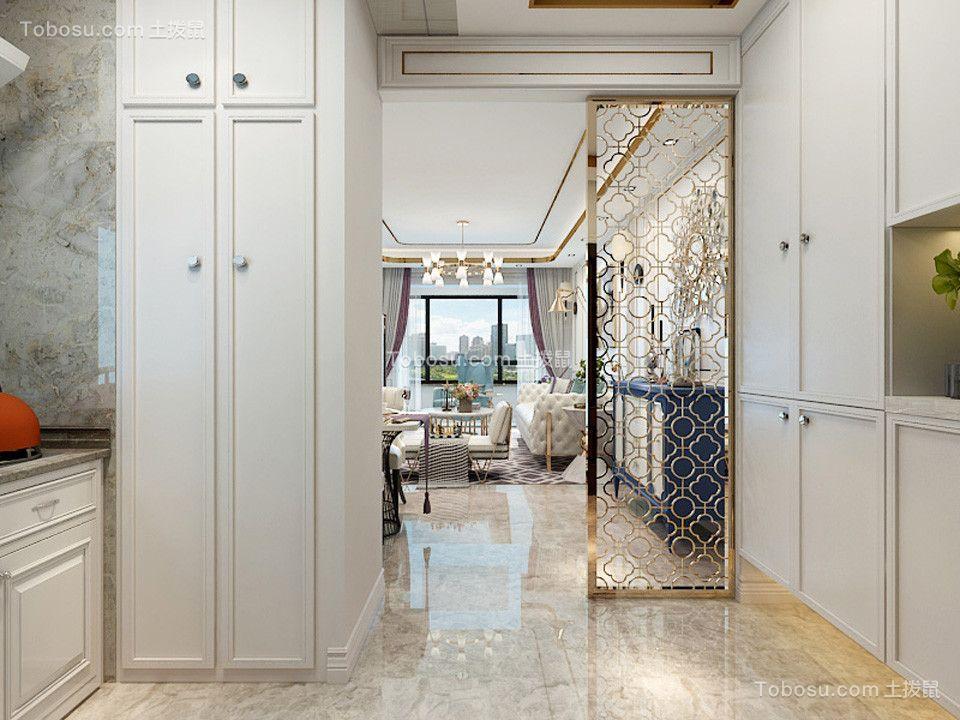玄关白色鞋柜简欧风格装饰设计图片