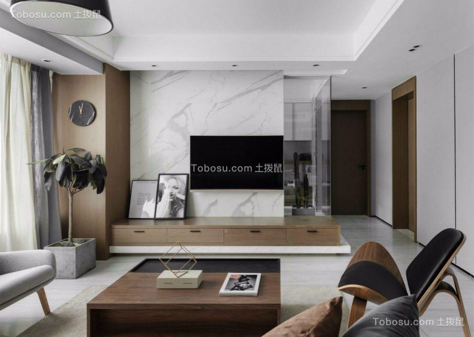 东辉花园三室两厅120平现代简约装修效果图