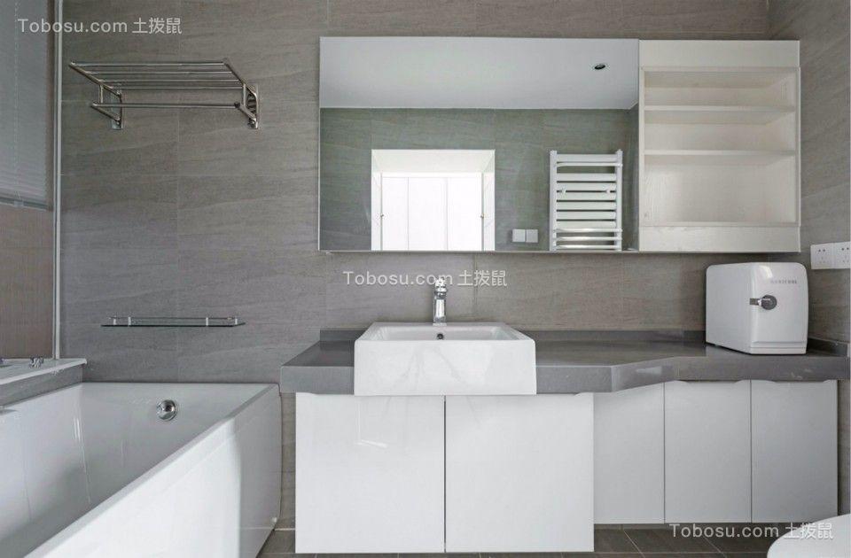 卫生间白色洗漱台现代简约风格装修设计图片