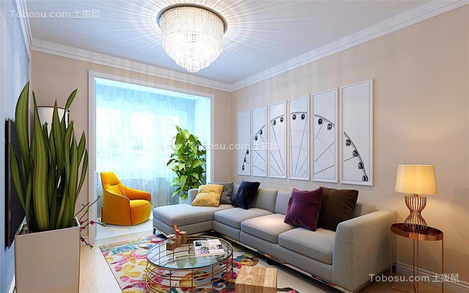 客厅绿色背景墙现代简约风格装修效果图