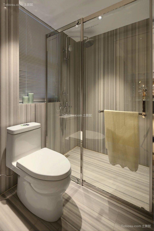 卫生间灰色地板砖现代简约风格装饰图片