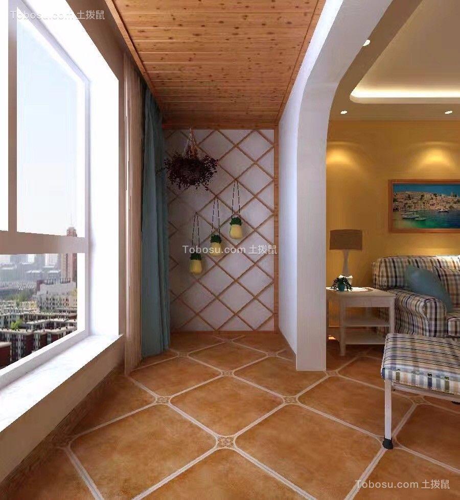 阳台蓝色窗帘美式风格装潢效果图