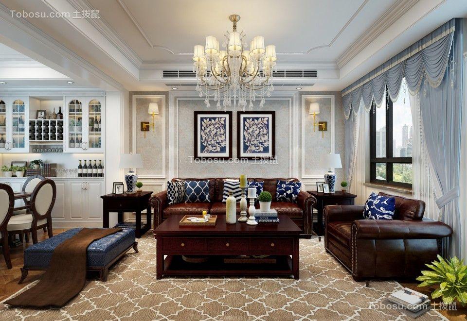 美式风格144平米三室两厅新房装修效果图