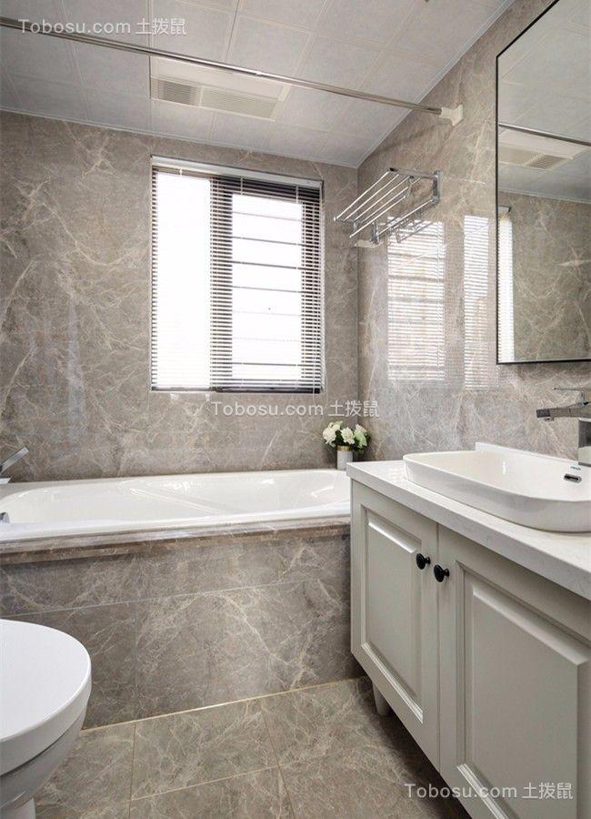 卫生间白色洗漱台美式风格装饰效果图