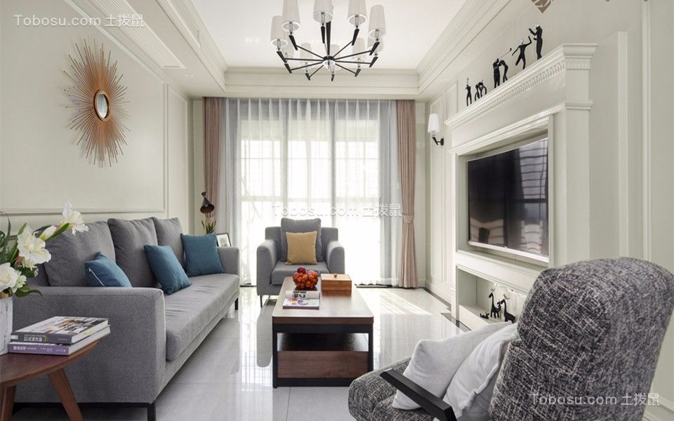 美式风格79平米两室两厅室内装修效果图