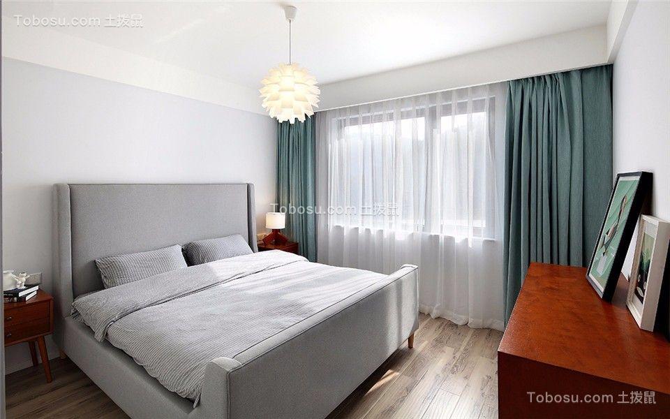 卧室蓝色窗帘简欧风格装修图片
