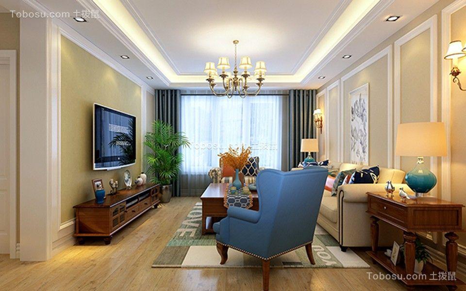 美式风格120平米2房2厅房子装饰效果图