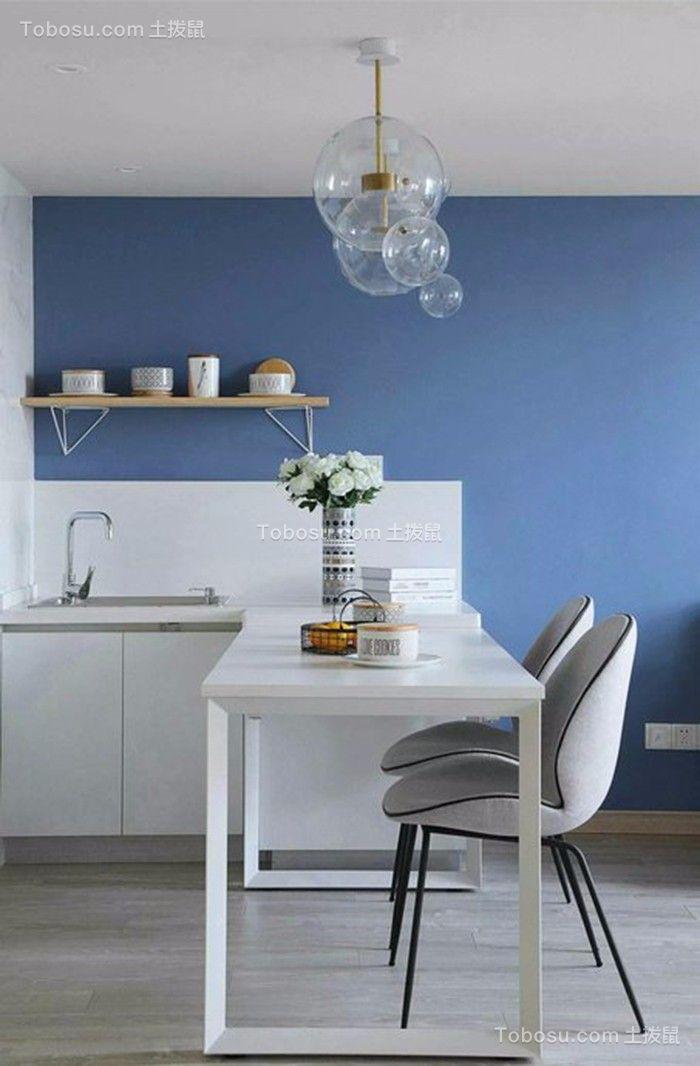 餐厅白色背景墙简约风格装修设计图片