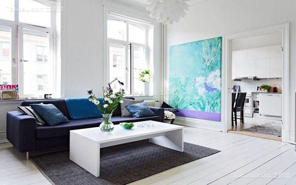 客厅绿色背景墙北欧风格装潢效果图