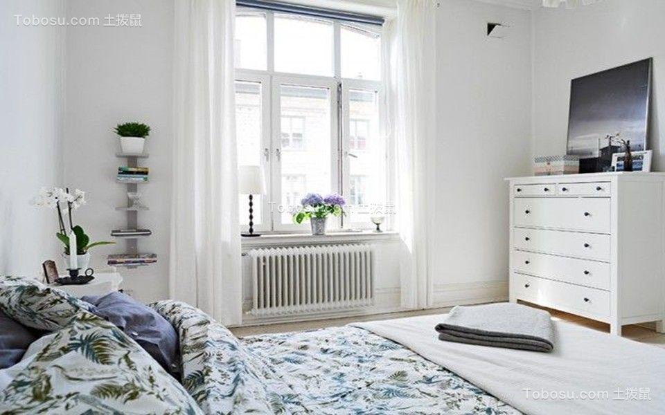 卧室白色窗帘北欧风格装饰图片
