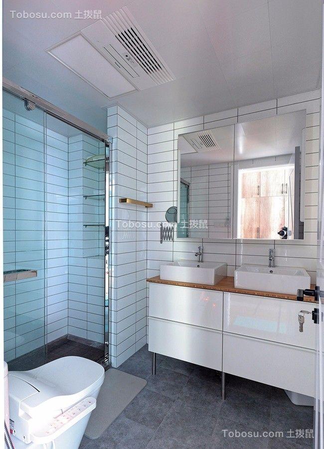 卫生间白色洗漱台北欧风格装潢效果图