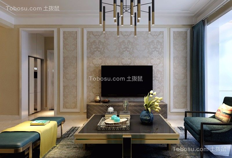 龙瑞苑108平米三居室现代简约风格装修效果图