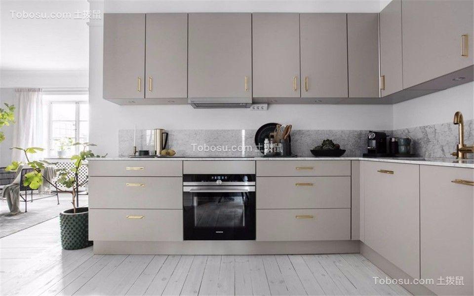 厨房白色地砖现代风格装潢设计图片