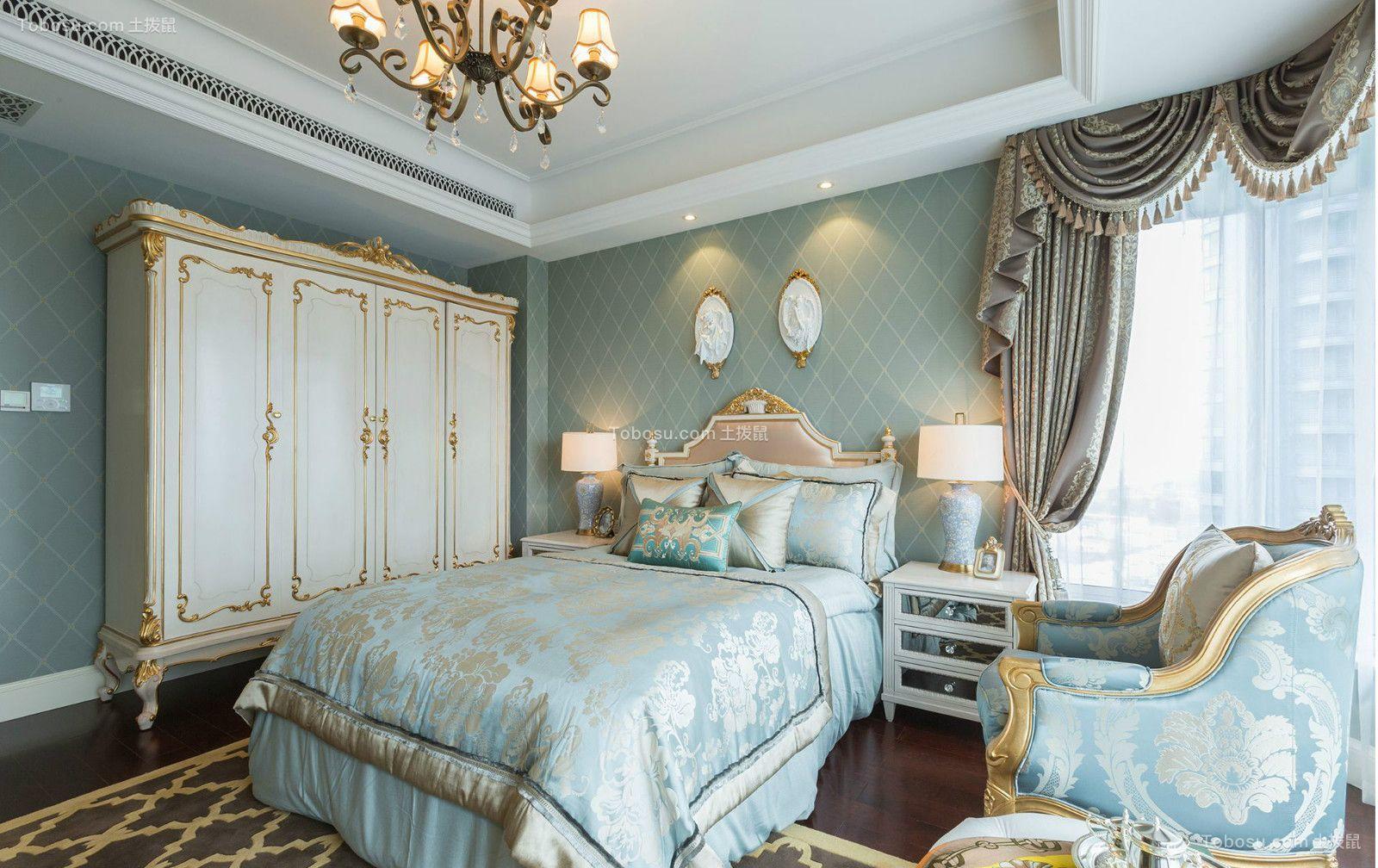 卧室蓝色背景墙北欧风格装潢图片