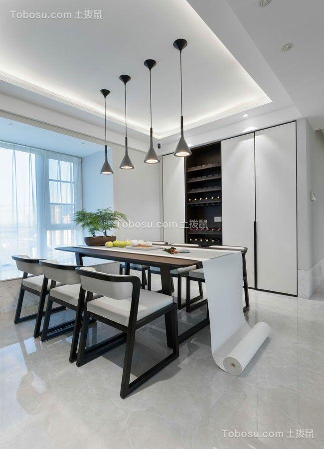 餐厅灰色灯具现代简约风格装潢设计图片