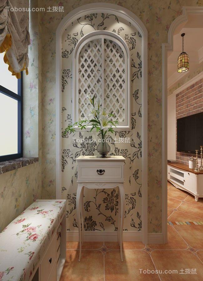 玄关黄色背景墙田园风格装饰设计图片