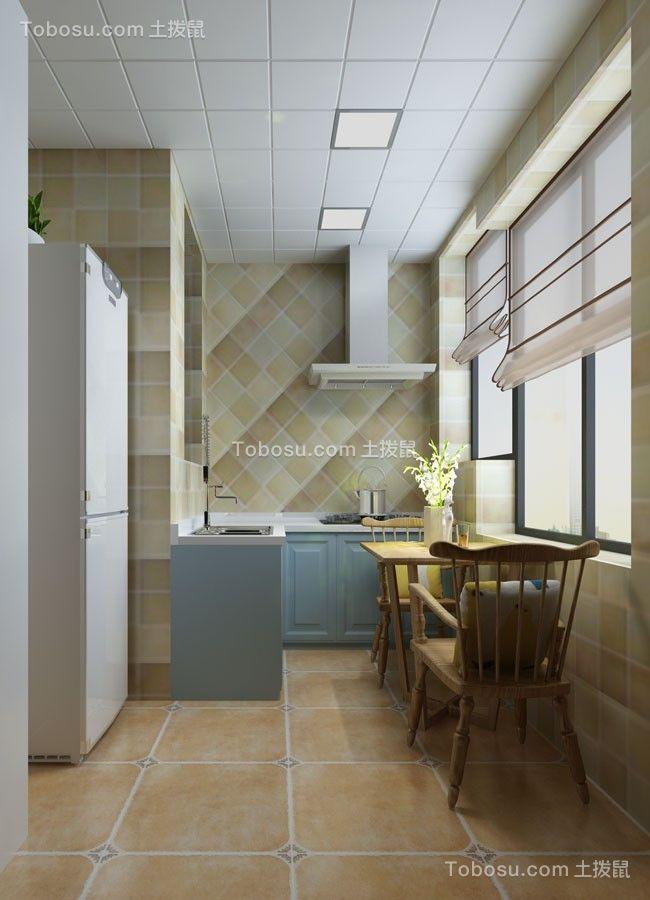 厨房黄色地砖田园风格装潢设计图片