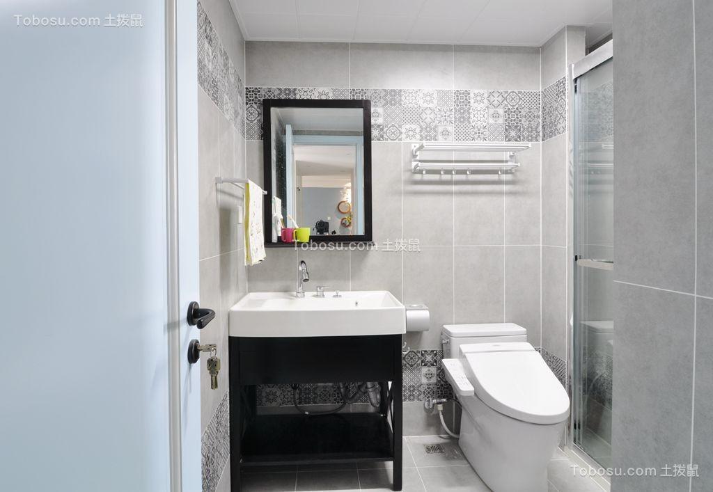 卫生间黑色洗漱台美式风格装饰设计图片