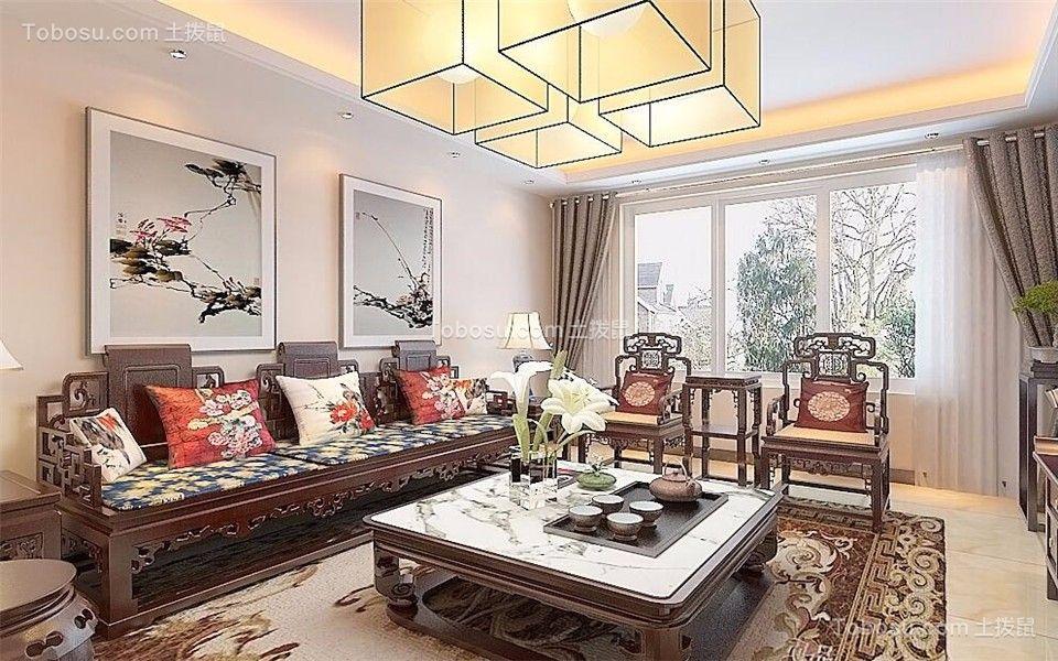 客厅白色沙发新中式风格装修图片