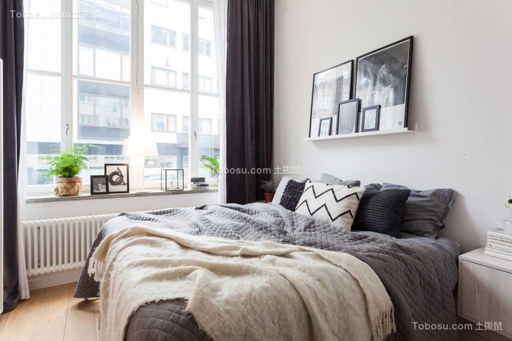 卧室白色窗帘现代简约风格装修图片