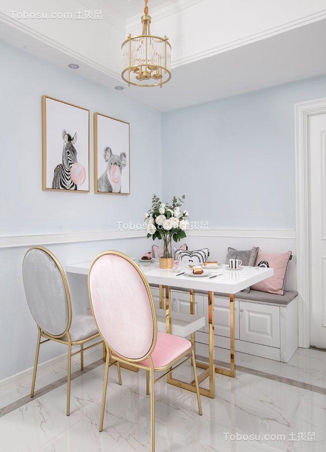 餐厅白色餐桌美式风格装修设计图片
