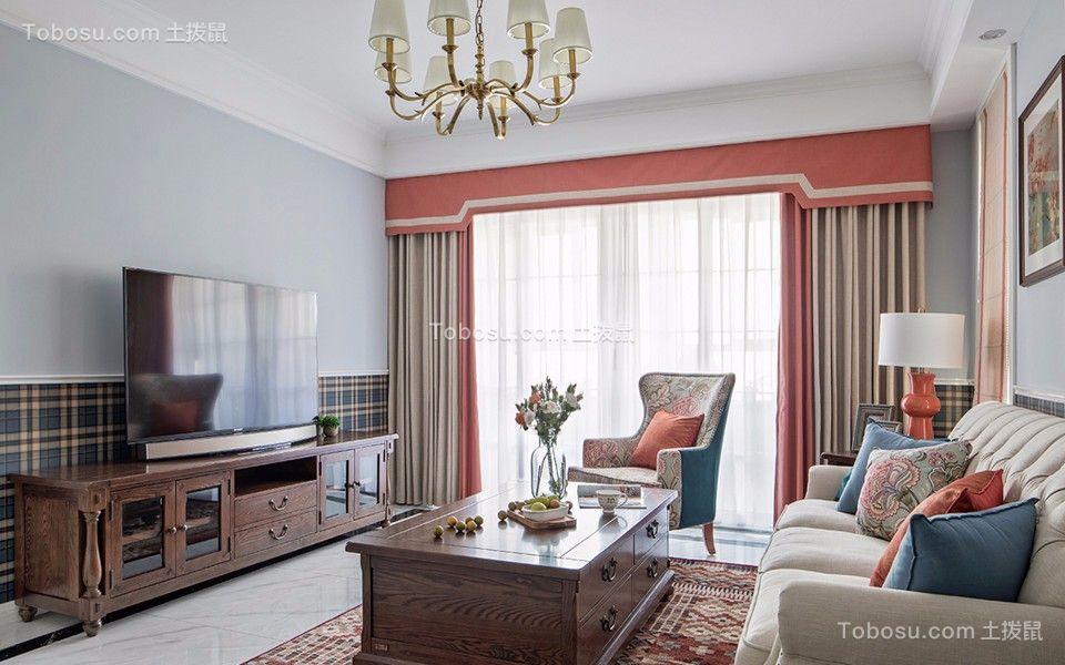 美式风格75平米两室两厅室内装修效果图