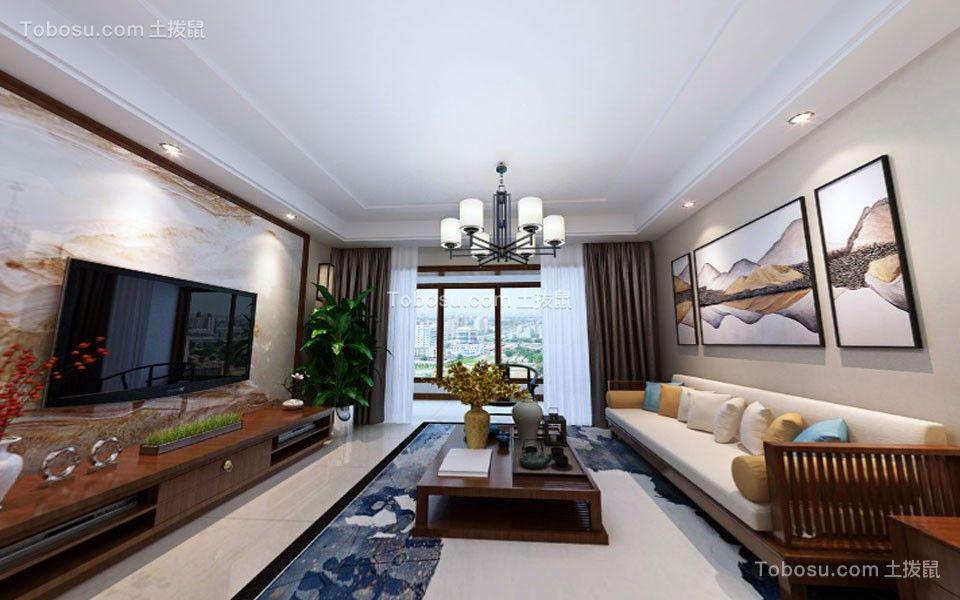 客厅白色灯具中式风格装饰效果图