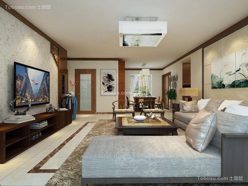 新中式风格82平米2房2厅房子装饰效果图-土拨鼠装修