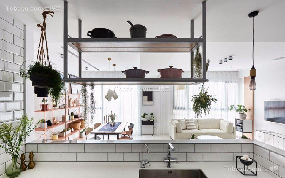 厨房白色厨房岛台北欧风格装饰效果图
