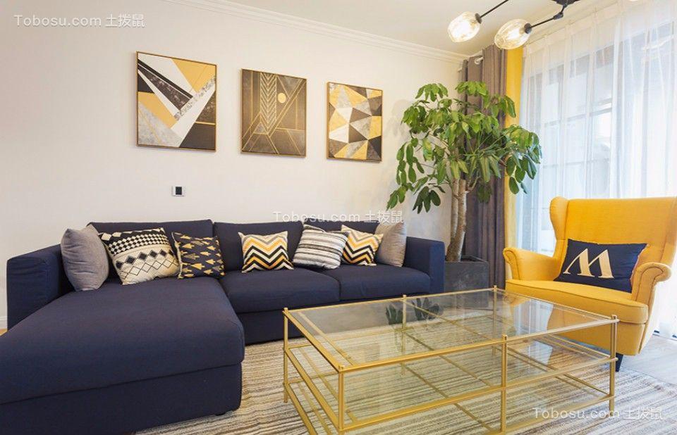 客厅黑色沙发北欧风格装饰效果图