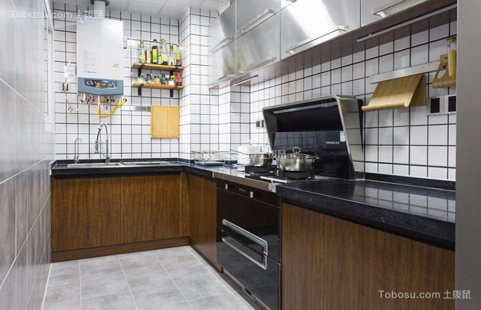 厨房黑色厨房岛台北欧风格装潢效果图