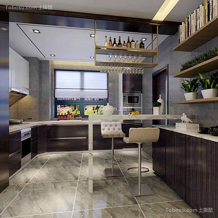 厨房灰色地砖简约风格装潢设计图片
