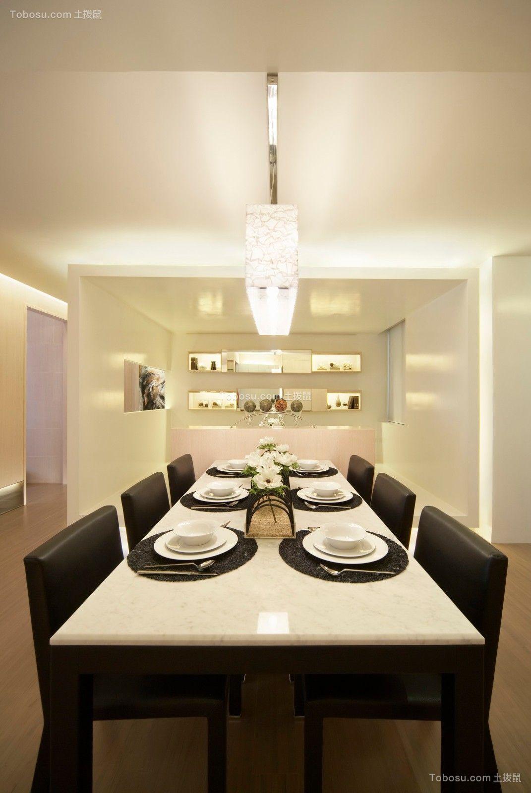 餐厅灰色餐桌现代简约风格装潢效果图