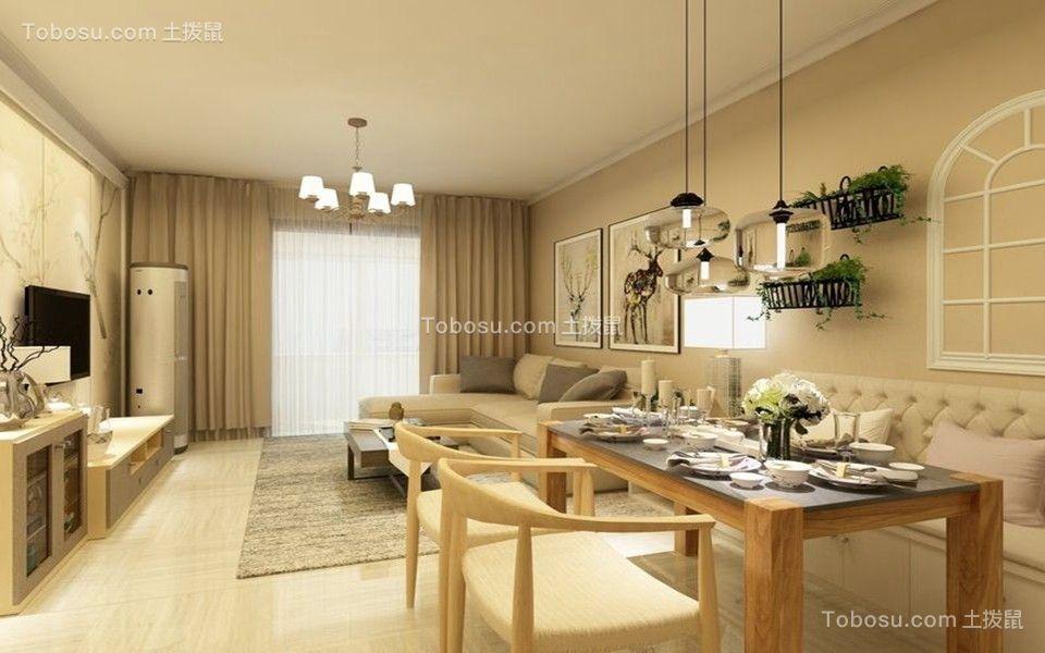 混搭风格89平米2房2厅房子装饰效果图