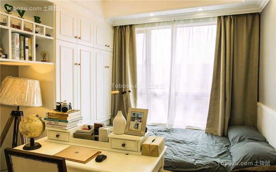 卧室米色书桌混搭风格装饰设计图片